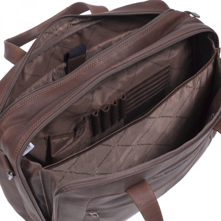 Geanta de laptop din piele naturala, The Chesterfield Brand, Ryan 17 inch, Maro inchis [1]