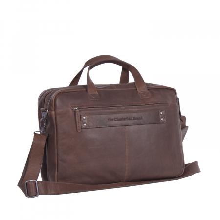 Geanta de laptop din piele naturala, The Chesterfield Brand, Ryan 17 inch, Maro inchis [3]