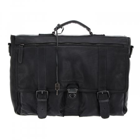 Geanta de laptop din piele naturala, The Chesterfield Brand, Quinten 17 inch, Negru [2]