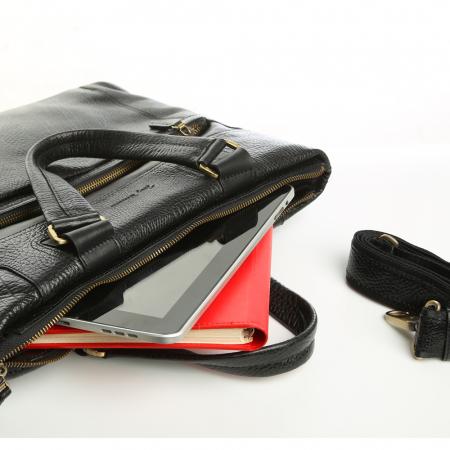 Geanta de laptop din piele naturala neagra Tony Bellucci T5120 [4]