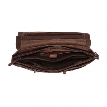 Geanta de laptop din piele naturala, The Chesterfield Brand, Belfast 15.6 inch, Maro inchis [1]