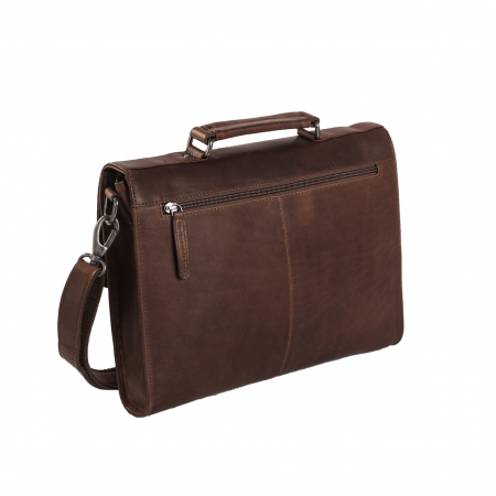 Geanta de laptop din piele naturala, The Chesterfield Brand, Brenn 12 inch, Maro inchis [4]