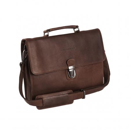 Geanta de laptop din piele naturala, The Chesterfield Brand, Brenn 12 inch, Maro inchis [0]