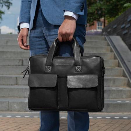 Geanta de laptop din piele naturala, The Chesterfield Brand, Ethan 15.6 inch, Negru [1]