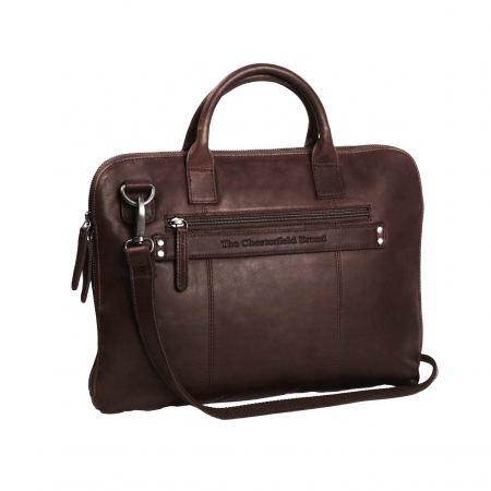 Geanta de laptop din piele naturala, The Chesterfield Brand, Harvey 14 inch, Maro inchis [3]