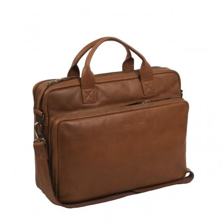 Geanta de laptop din piele naturala, The Chesterfield Brand, Jackson 15.6 inch, Maro coniac [0]