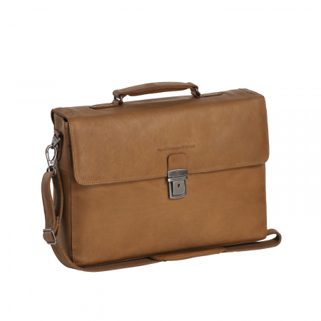 Geanta de laptop din piele naturala, The Chesterfield Brand, Linz 15.6 inch, Maro coniac [0]