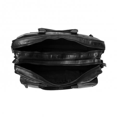 Geanta de laptop din piele naturala, The Chesterfield Brand, Rowan 17 inch, Negru [4]