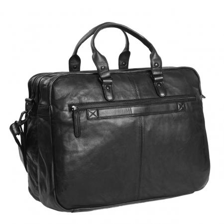 Geanta de laptop din piele naturala, The Chesterfield Brand, Rowan 17 inch, Negru [1]