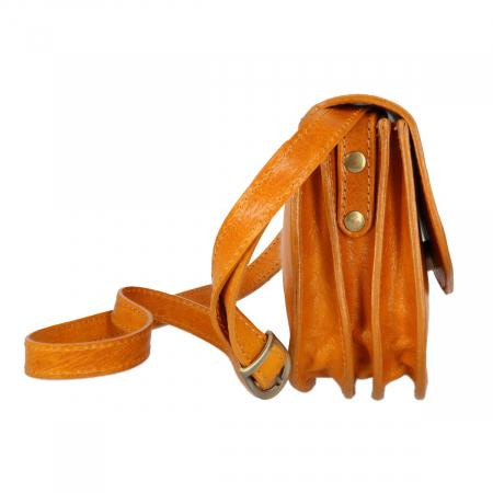 Geanta de umar, din piele vachetta galben chihlimbar tip tolba S5510 [6]