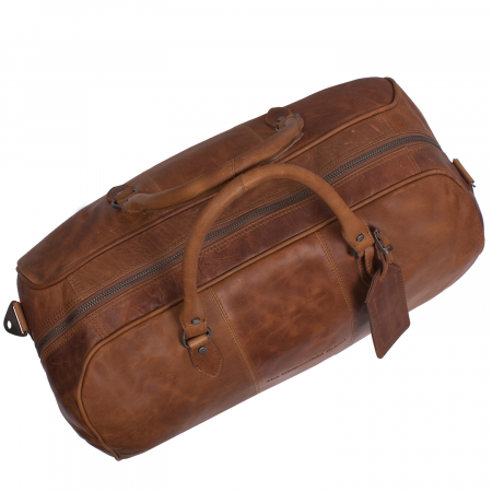 Geanta de voiaj unisex The Chesterfield Brand, din piele moale maro coniac, Liam [5]