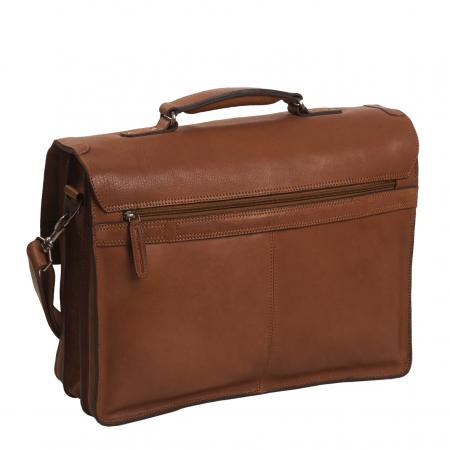 Geanta laptop The Chesterfield Brand, piele naturala, Idaho 15,6 inch, cu 5 compartimente, Maro coniac [3]