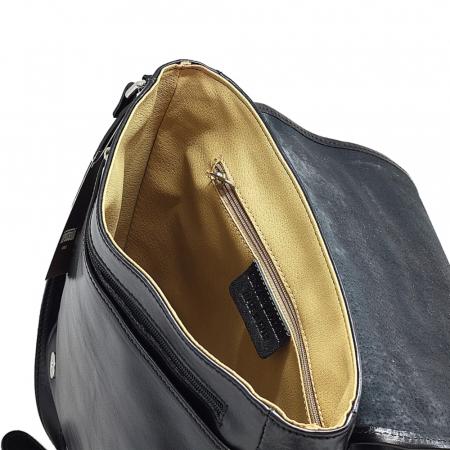 Geanta neagra casual din piele vachetta model unisex S5543 [2]