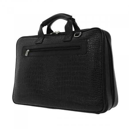 Geanta pentru laptop de 15,4 inch, din piele naturala croco neagra model 7008 [3]
