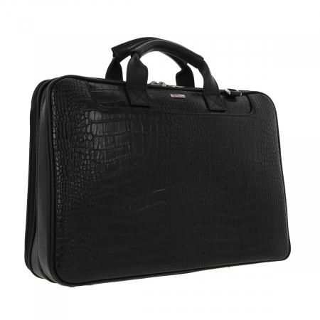 Geanta pentru laptop de 15,4 inch, din piele naturala croco neagra model 7008 [0]
