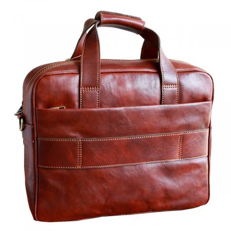 Geanta pentru laptop din piele vachetta maro coniac model 4575 [1]
