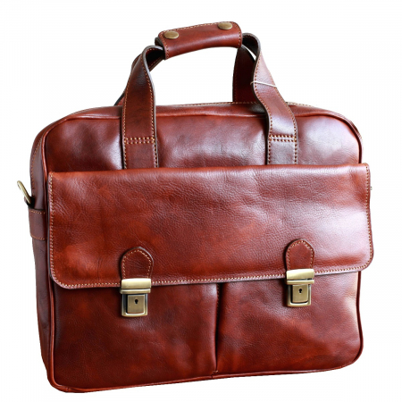 Geanta pentru laptop din piele vachetta maro coniac model 4575 [0]