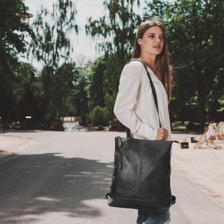 Geanta/rucsac pentru laptop de 14 inch, The Chesterfield Brand, din piele naturala, model Chelsea, Negru [1]