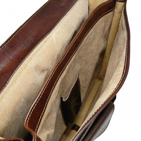 Geanta tip servieta din piele vachetta maro 4511 [3]
