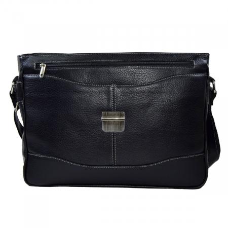 Geanta tip servieta pentru laptop de 14 inch, din piele naturala, model casual 41 negru [7]