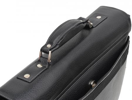Geanta tip servieta pentru laptop de 14 inch, din piele naturala, model casual 41 negru [6]