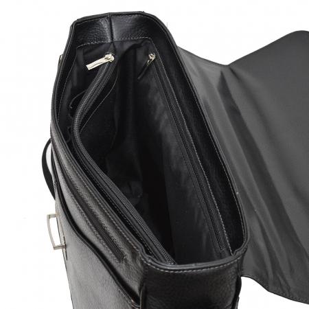 Geanta tip servieta pentru laptop de 14 inch, din piele naturala, model casual 41 negru [3]