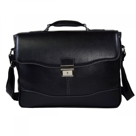 Geanta tip servieta pentru laptop de 14 inch, din piele naturala, model casual 41 negru [1]