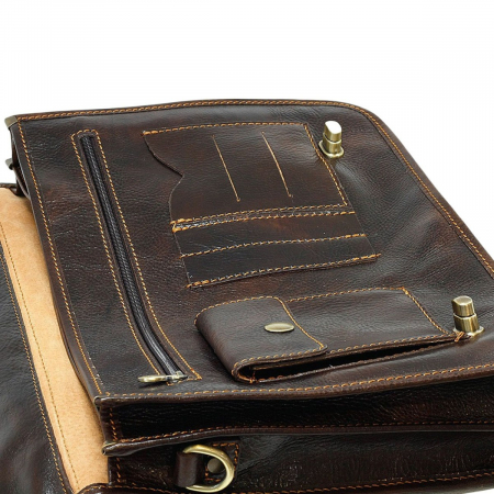Geanta tip servieta unisex din piele vachetta maro inchis model 4512 [3]