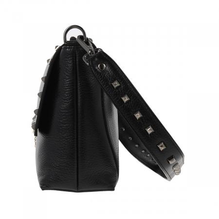 Geanta Tony Bellucci din piele naturala neagra, model cu tinte T4292