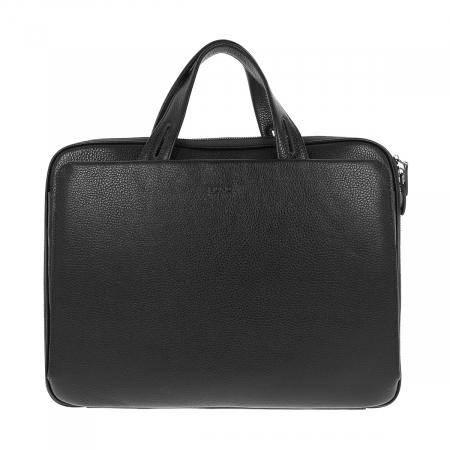 Geanta unisex pentru acte si laptop din piele naturala neagra, model T1187 [3]