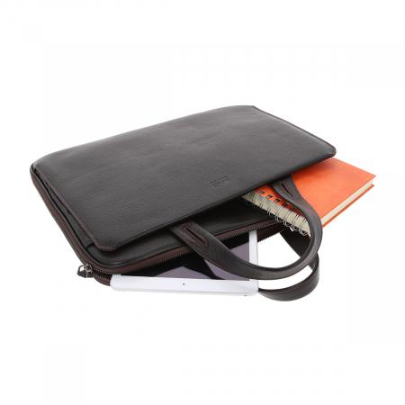 Geanta unisex pentru acte si laptop din piele naturala neagra, model T1187 [5]