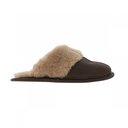Papuci de casa din blana confortabila naturala de miel, maro cu crem, model pentru barbati [3]