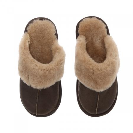 Papuci de casa din blana confortabila naturala de miel, maro cu crem, model pentru barbati [1]