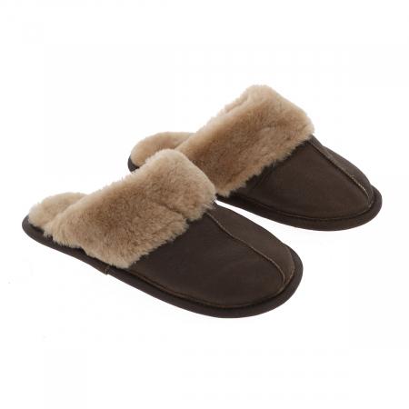 Papuci de casa din blana confortabila naturala de miel, maro cu crem, model pentru barbati [0]