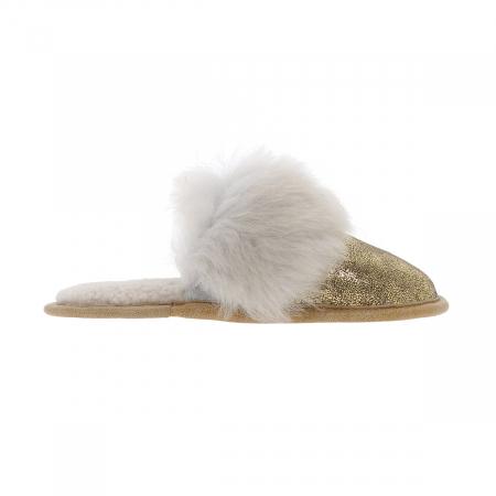 """Papuci de casa din blana pufoasa naturala de miel si talpa moale, culoare auriu cu alb """"murdar"""" [2]"""