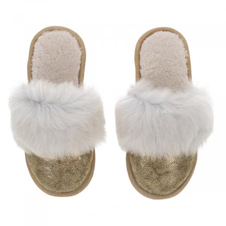 """Papuci de casa din blana pufoasa naturala de miel si talpa moale, culoare auriu cu alb """"murdar"""" [1]"""