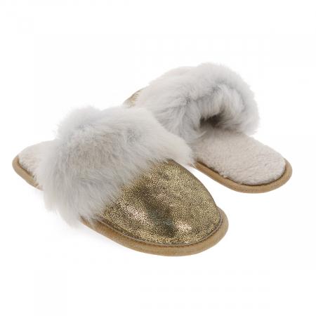 """Papuci de casa din blana pufoasa naturala de miel si talpa moale, culoare auriu cu alb """"murdar"""" [3]"""