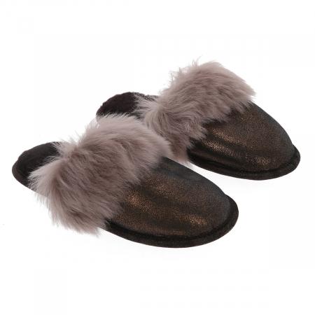 Papuci de casa din blana pufoasa naturala de miel si talpa moale, culoare bronz cu maro cappucino [0]