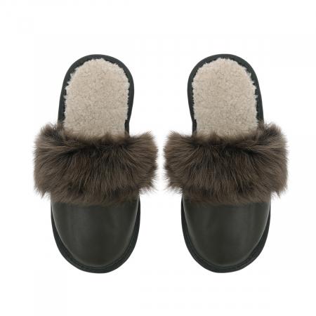 Papuci de casa din blana pufoasa naturala de miel si talpa moale, culoare kaki [1]