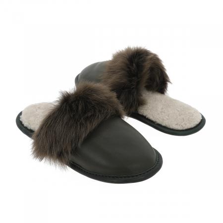 Papuci de casa din blana pufoasa naturala de miel si talpa moale, culoare kaki [3]