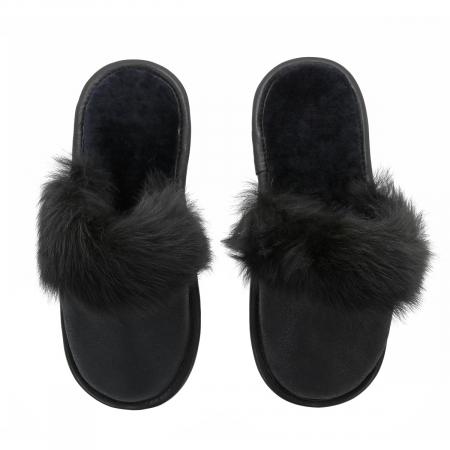 Papuci de casa din blana pufoasa naturala de miel si talpa moale, culoare negru [1]
