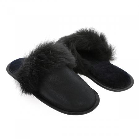 Papuci de casa din blana pufoasa naturala de miel si talpa moale, culoare negru [3]