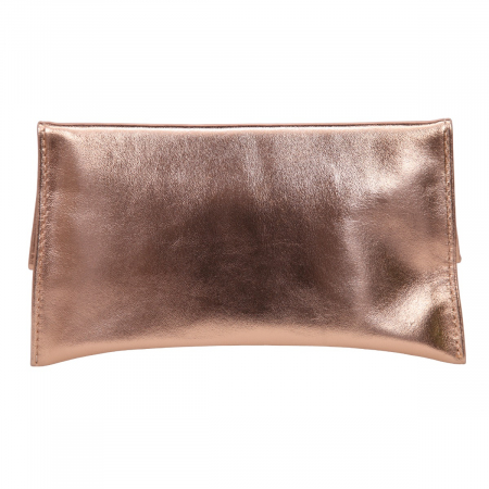 Plic auriu elegant din piele naturala, model trapez [2]