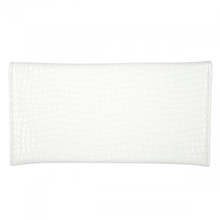 Plic de ocazie alb imaculat din piele croco lac [2]