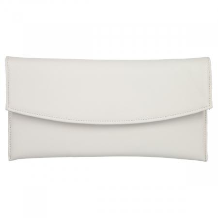 Plic de ocazie alb/ivory din piele naturala box [1]