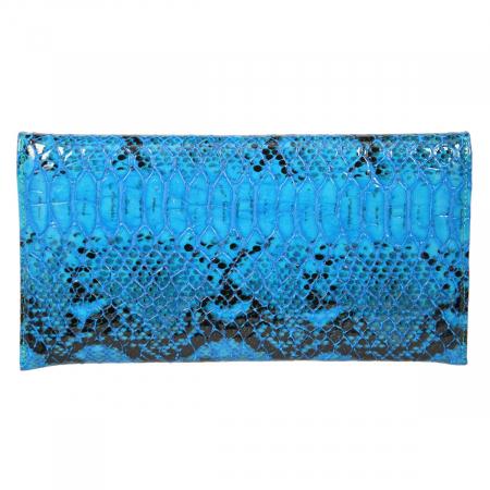 Plic de ocazie albastru din piele tip piton croco lac [2]