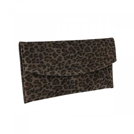 Plic de ocazie animal print din piele naturala gri inchis si negru [0]