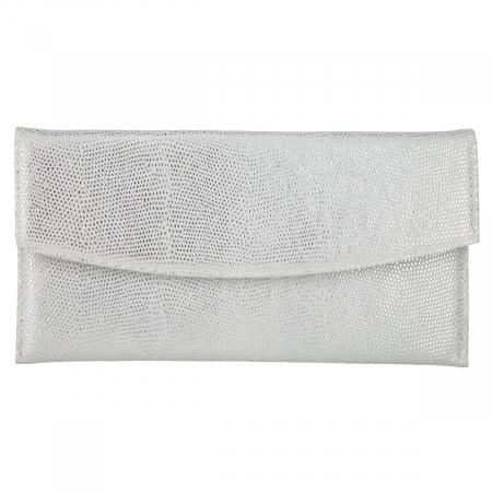 Plic de ocazie din piele naturala argintie cu aspect de picaturi [1]