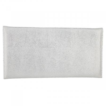 Plic de ocazie din piele naturala argintie cu aspect de picaturi [2]