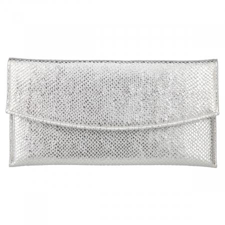 Plic de ocazie din piele naturala argintie cu aspect de solzi [1]